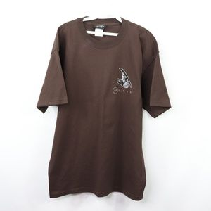 Vtg 90s Mens Large Utah Snowboarding T Shirt Brown